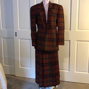 Wool blazer skirt set